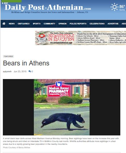 Article in the Athens Georgia Newspaper about Black Bears